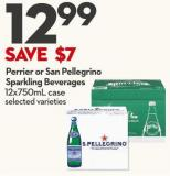 Perrier or San Pellegrino Sparkling Beverages 12x750ml Case