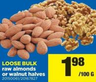 Raw Almonds Or Walnut Halves