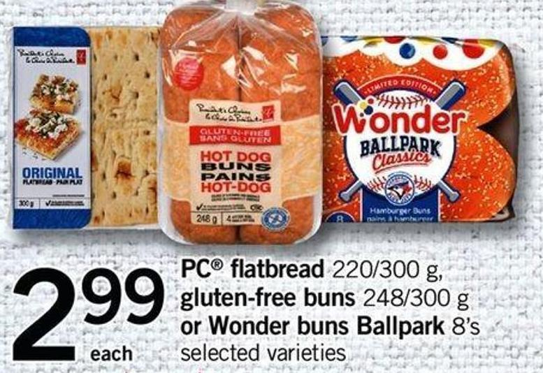 PC Flatbread 220/300 G - Gluten-free Buns 248/300 G Or Wonder Buns Ballpark 8's