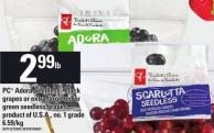PC Adora Seedless Black Grapes Or Extra Large Red Or Green Seedless Grapes