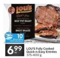 Lou's Fully Cooked Quick-n-easy Entrées - 10 Air Miles Bonus Miles