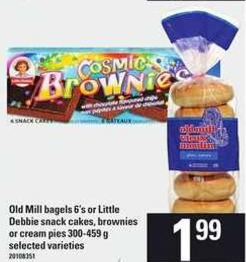 Old Mill Bagels 6's Or Little Debbie Snack Cakes - Brownies Or Cream Pies 300-459 G