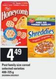 Post Family Size Cereal - 400-725 G