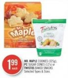 Mr. Maple Cookies (325g) - PC Sugar Cones (12's) or Twistos Baked Snacks