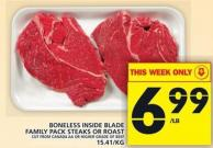 Boneless Inside Blade Family Pack Steaks Or Roast