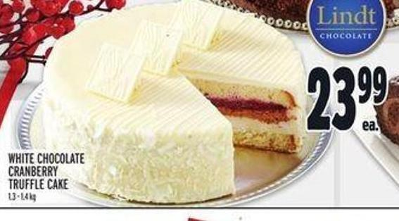 White Chocolate Cranberry Truffle Cake