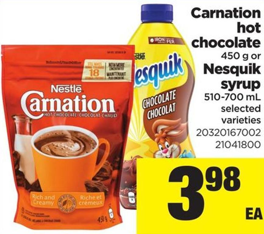 Carnation Hot Chocolate - 450 G Or Nesquik Syrup - 510-700 Ml