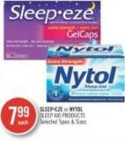 Sleep-eze or Nytol Sleep Aid Products