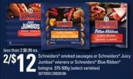 Schneiders Smoked Sausages Or Schneiders Juicy Jumbos Wieners Or Schneiders Blue Ribbon Bologna - 375-500g