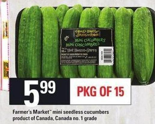 Farmer's Market Mini Seedless Cucumbers - Pkg Of 15