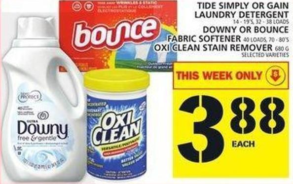 Tide Simply Or Gain Laundry Detergent Or Downy Or Bounce Fabric Softener Or Oxi Clean Stain Remover