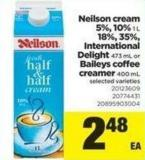 Neilson Cream 5% - 10% 1 L - 18% - 35% - International Delight - 473 mL Or Baileys Coffee Creamer - 400 mL