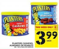Planters Cashews - Almonds Or Peanuts