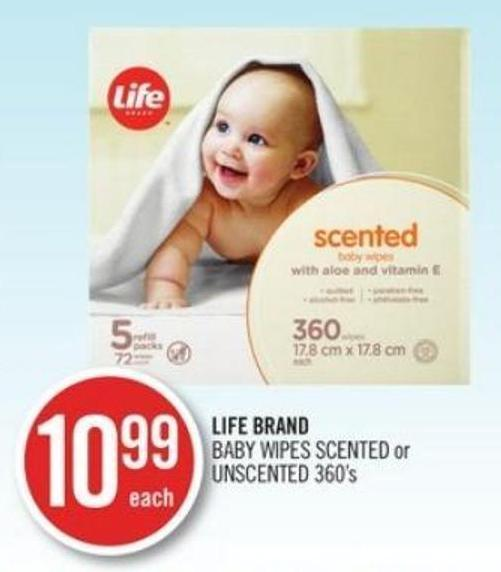 Life Brand Baby Wipes Scented or Unscented 360's
