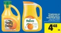 Tropicana Or Simply Juice - Gold Peak Teas - 2.63 L