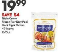 Triple Crown Frozen  Raw Easy Peel Black Tiger Shrimp 454g Pkg 13-15ct
