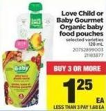 Love Child Or Baby Gourmet Organic Baby Food Pouches - 128 mL
