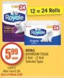 Royale Bathroom Tissue 6 Roll - 12 Roll
