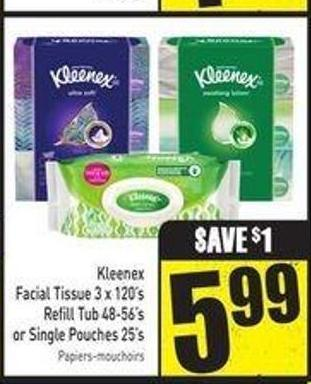 Kleenex Facial Tissue 3 X 120's Refill Tub 48-56's or Single Pouches 25's