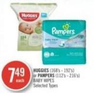 Huggies (168's - 192's) or Pampers (112's - 216's) Baby Wipes