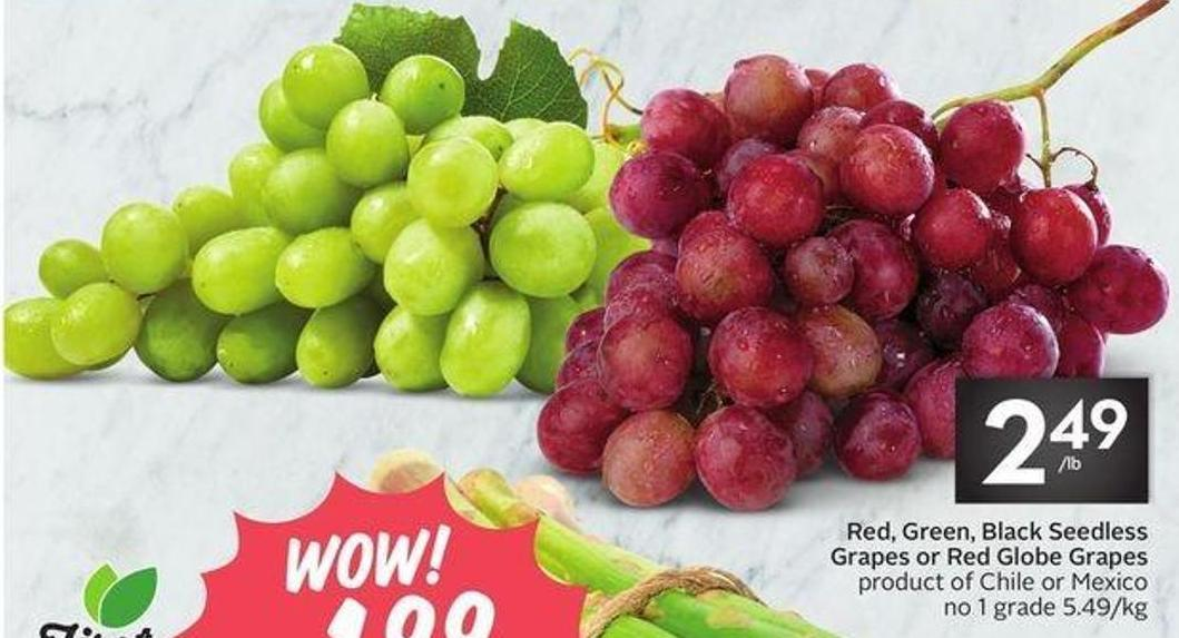 Red - Green - Black Seedless Grapes or Red Globe Grapes