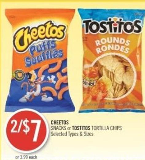 Cheetos Snacks or Tostitos Tortilla Chips