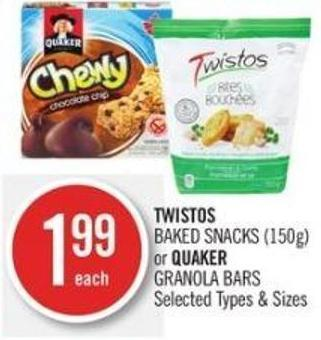 Twistos  Baked Snacks (150g) or Quaker Granola Bars
