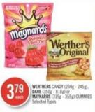 Werthers Candy (230g - 245g) - Dare (350g - 818g) or Maynards (315g - 355g) Gummies