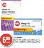 Life Brand Nighttime Sleep Aid Caplets (12's) - Extra Strength or Fast Gels (20's)