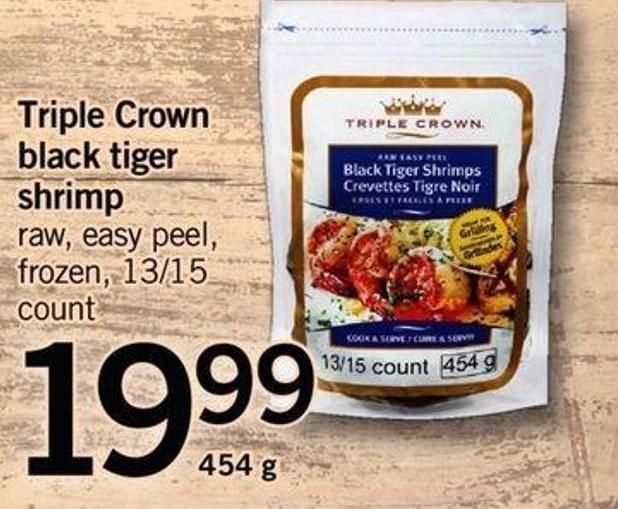 Triple Crown Black Tiger Shrimp - 13/15 Count - 454 g