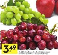 Red - Black or Green Seedless Grapes Product of Peru or South Africa No 1 Grade