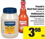 Frank's Red Hot Sauce - 354 mL Or Hellmann's Mayonnaise - 710-890 mL