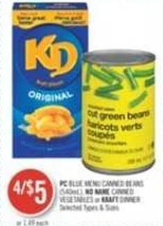 PC Blue Menu Canned Beans (540 Ml) - No Name Canned Vegetables or Kraft Dinner