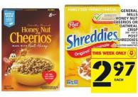 General Mills Honey Nut Cheerios Or Oatmeal Crisp Or Post Shreddies