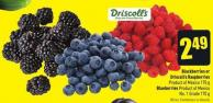 Blackberries or Driscoll's Raspberries Product of Mexico 170 g Blueberries Product of Mexico No. 1 Grade 170 g