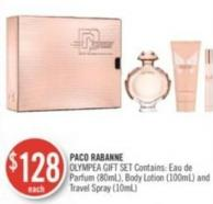 Paco Rabanne Olympea Gift Set Contains: Eau de Parfum (80ml) - Body Lotion (100ml) and Travel Spray (10ml)