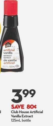 Club House Artificial  Vanilla Extract 125ml Bottle