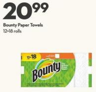 Bounty Paper Towels 12 = 18 Rolls