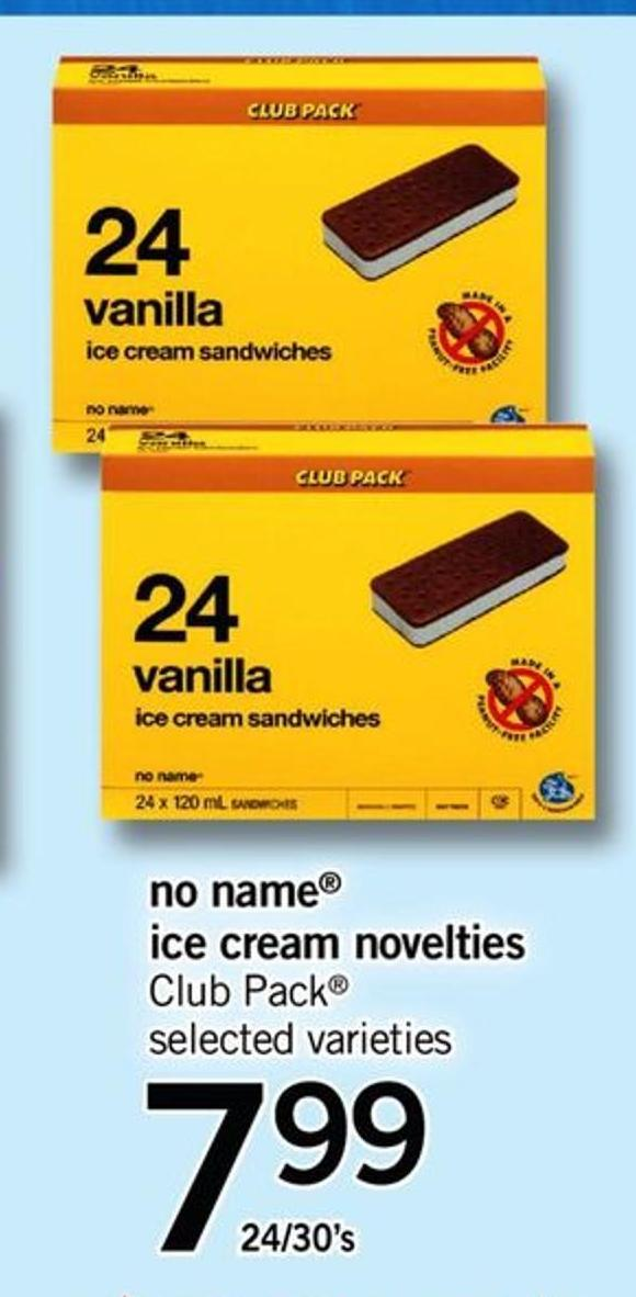 No Name Ice Cream Novelties Club Pack - 24/30's