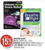 Breathe Right Nasal Strips (8's-10's ) Unisom Snore Relife Spray (45ml) Or Life Brand Sleep And Caplets