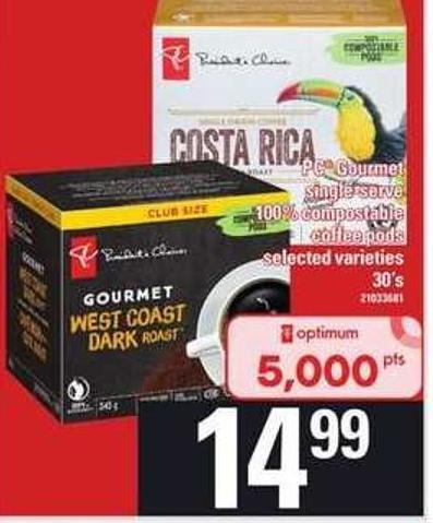 PC Gourmet Single Serve 100% Compostable Coffee PODS