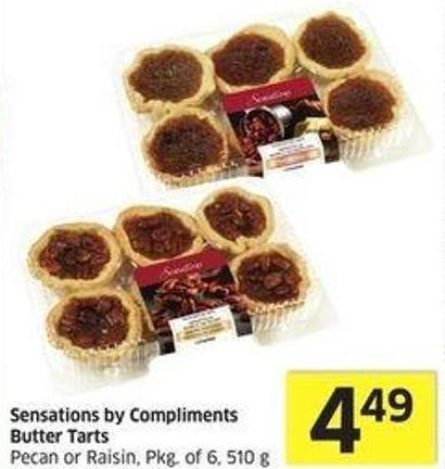 Sensations By Compliments Butter Tarts Pecan or Raisin - Pkg of 6 - 510 g
