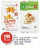 PC Water (125g) - Organics (200g) or Little Penguins Snack (180g - 200g) Crackers