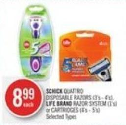 Schick Quattro Disposable Razors (3's - 4's) - Life Brand Razor System (1's) or Cartridges (4's - 5's)