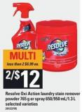 Resolve Oxi Action Laundry Stain Remover Powder 765 G Or Spray 650/950 Ml/1.3 L