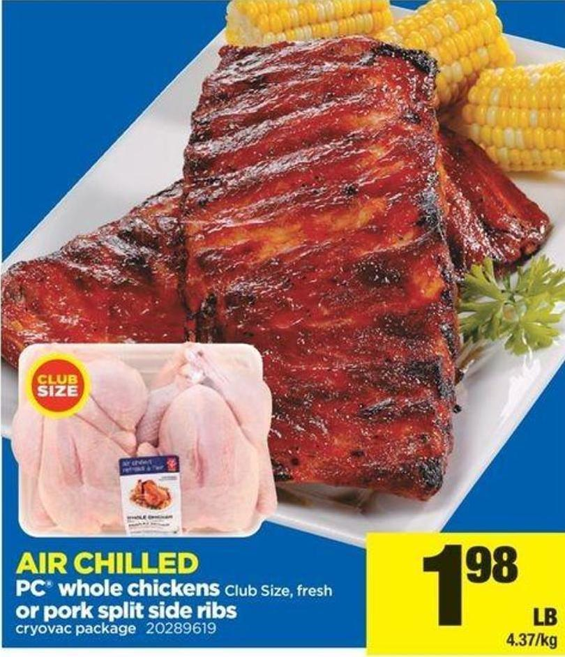 PC Whole Chickens Club Size - Fresh Or Pork Split Side Ribs