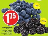 Pint Blueberries Product of Chile No. 1 Grade Blackberries Product of Mexico