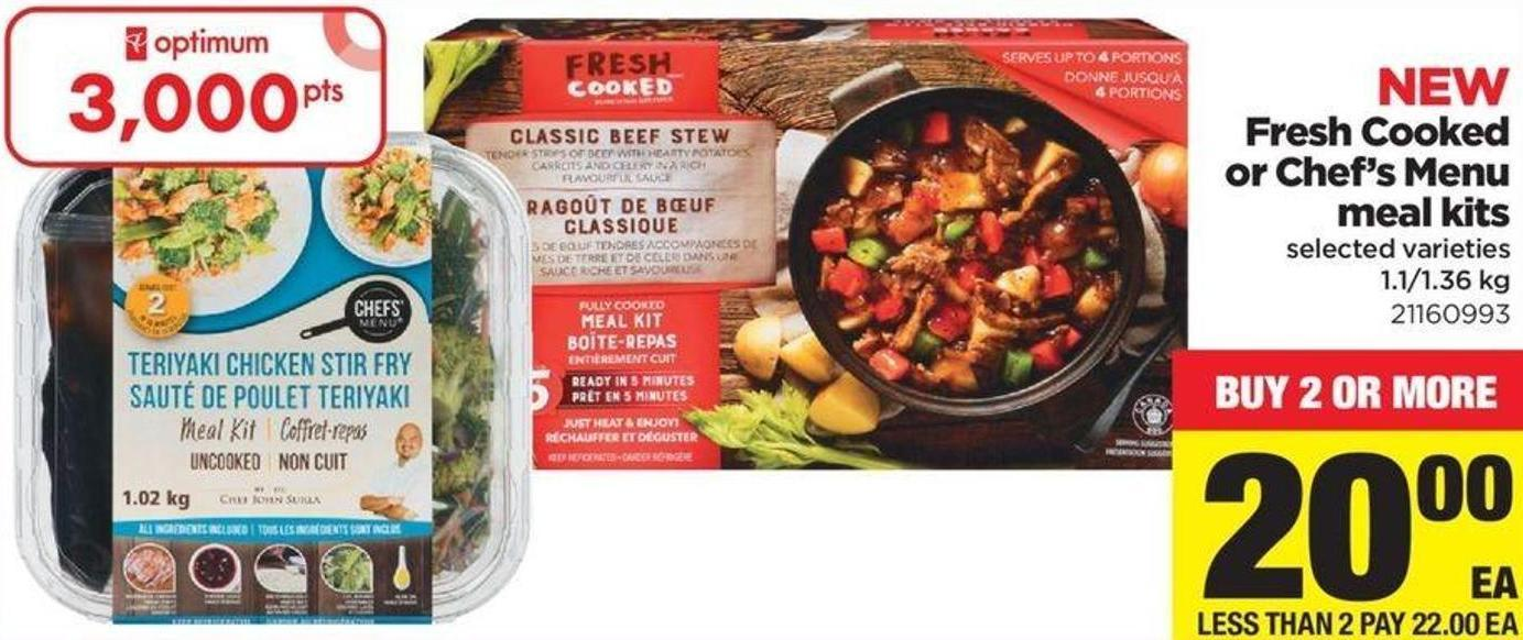 Fresh Cooked Or Chef's Menu Meal Kits - 1.1/1.36 Kg