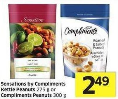 Sensations By Compliments Kettle Peanuts 275 g or Compliments Peanuts 300 g
