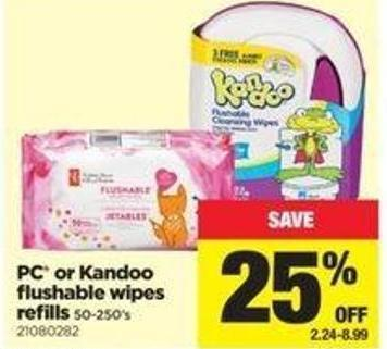 PC Or Kandoo Flushable Wipes Refills - 50-250's